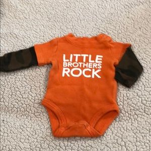 Little Brothers Rock long sleeve onesie